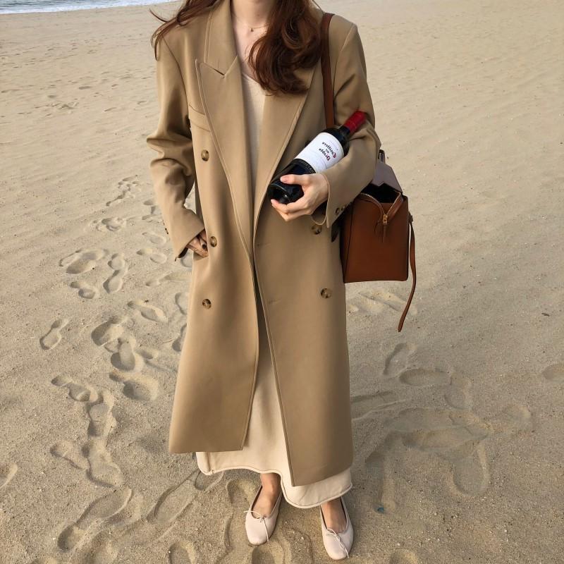 韩国秋冬新款双排扣翻领长款卡其色长款西装外套风衣foxMiss
