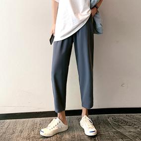 哈伦裤女夏季薄款大码宽松胖mm九分黑色显瘦直筒奶奶裤雪纺萝卜裤