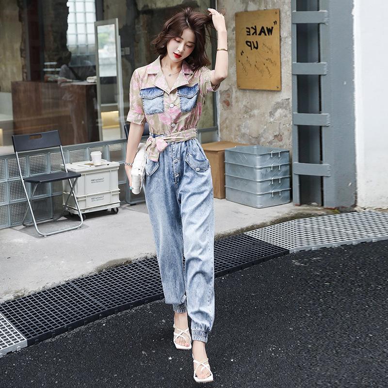 牛仔工装连衣女夏装新款短袖收腰连体裤拼接束脚裤休闲连身衣裤子