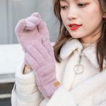 手套女冬可爱学生冬季保暖加绒仿貂绒加厚韩版触屏毛线冬天骑行