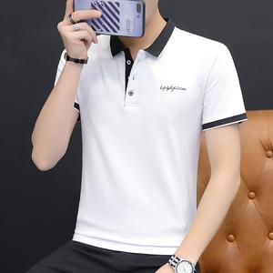 男士短袖T恤夏季修身衬衫领上衣服青年有领翻领polo衫男装体恤潮