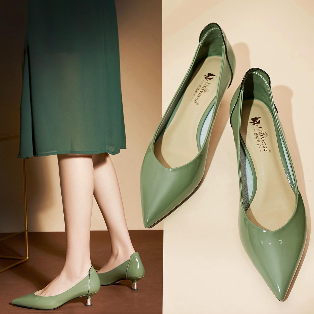 真皮尖头单鞋女猫跟鞋仙女风中低跟软皮OL工作温柔气质法式小高跟
