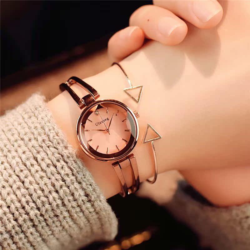 新款韩版简约复古休闲大气手链式潮2018女士学生手表防水时尚款女