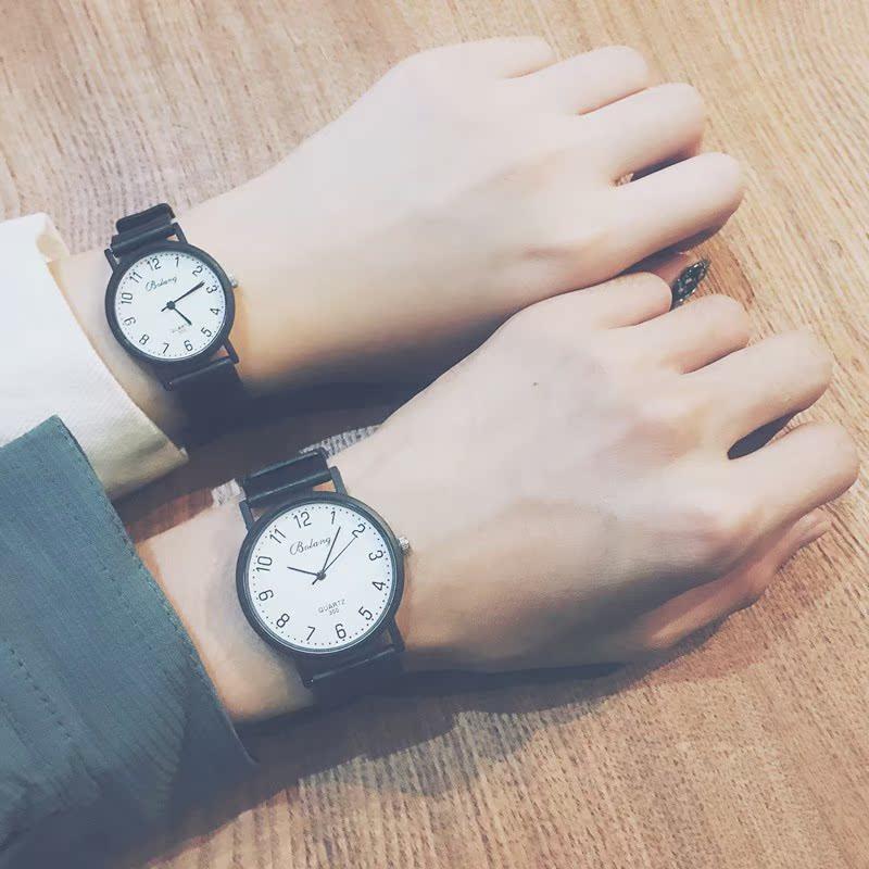 休闲复古时尚黑白情侣手表一对ulzzang手表男女学生韩版简约潮流