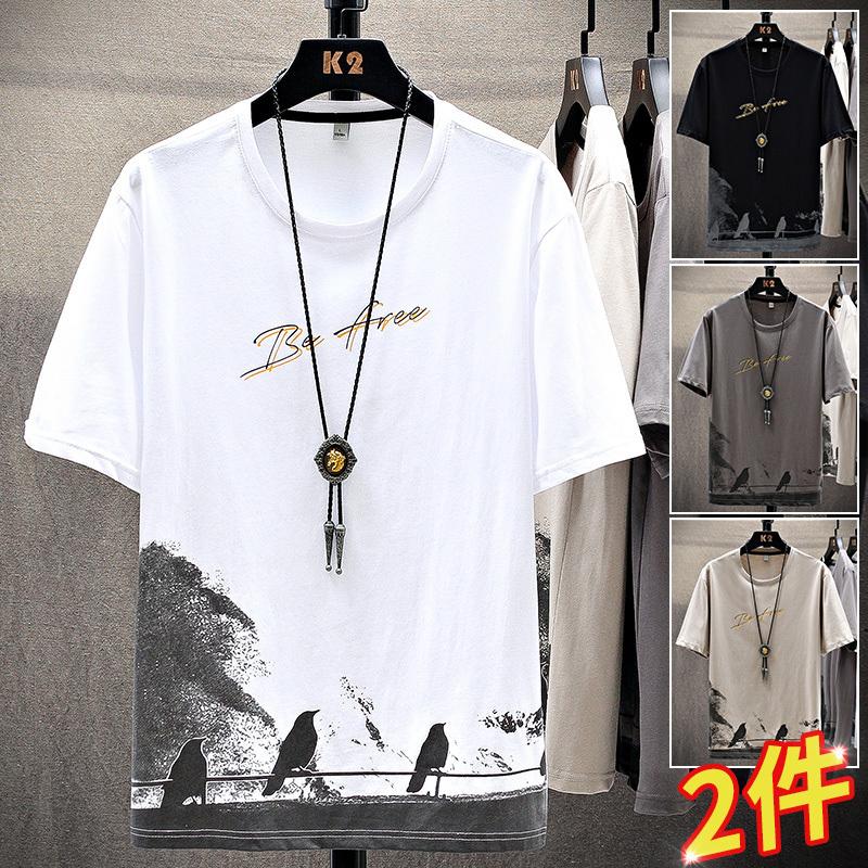 2021新款夏季男士短袖t恤潮牌ins潮流宽松纯棉半袖体恤男装上衣服
