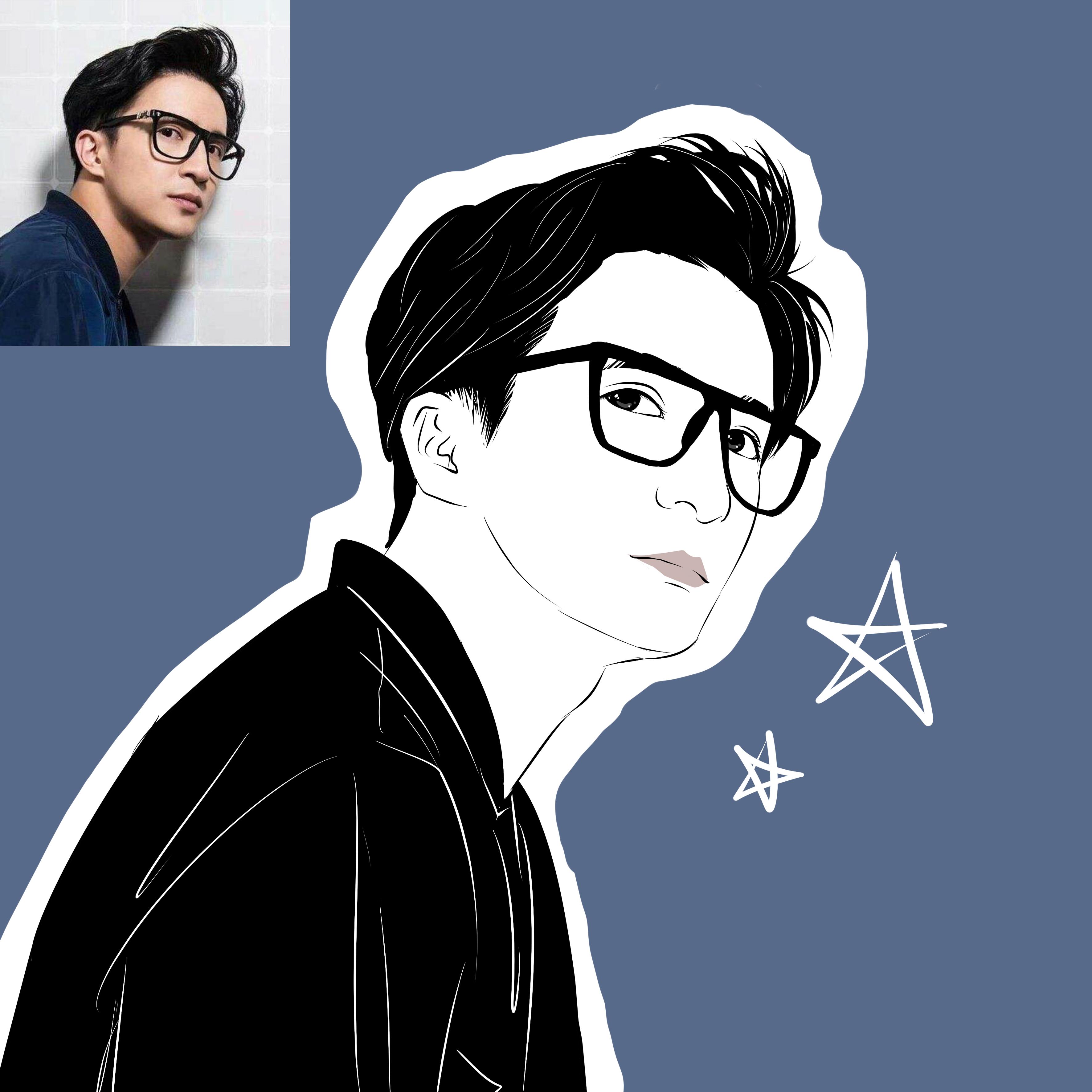 黑白写实漫画头像设计照片转手绘卡通人物肖像定制线图线稿