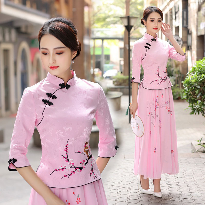 民族中国风改良旗袍两件套女唐装春秋季新款中式复古茶人表演汉服