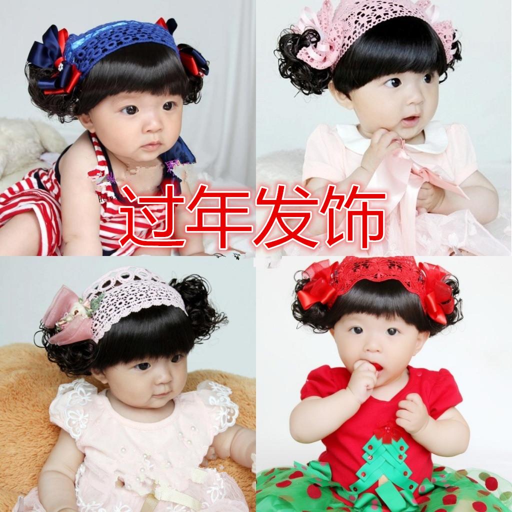 韩版女宝宝婴幼儿童假发发带头饰发饰公主假发帽子头花发箍周岁