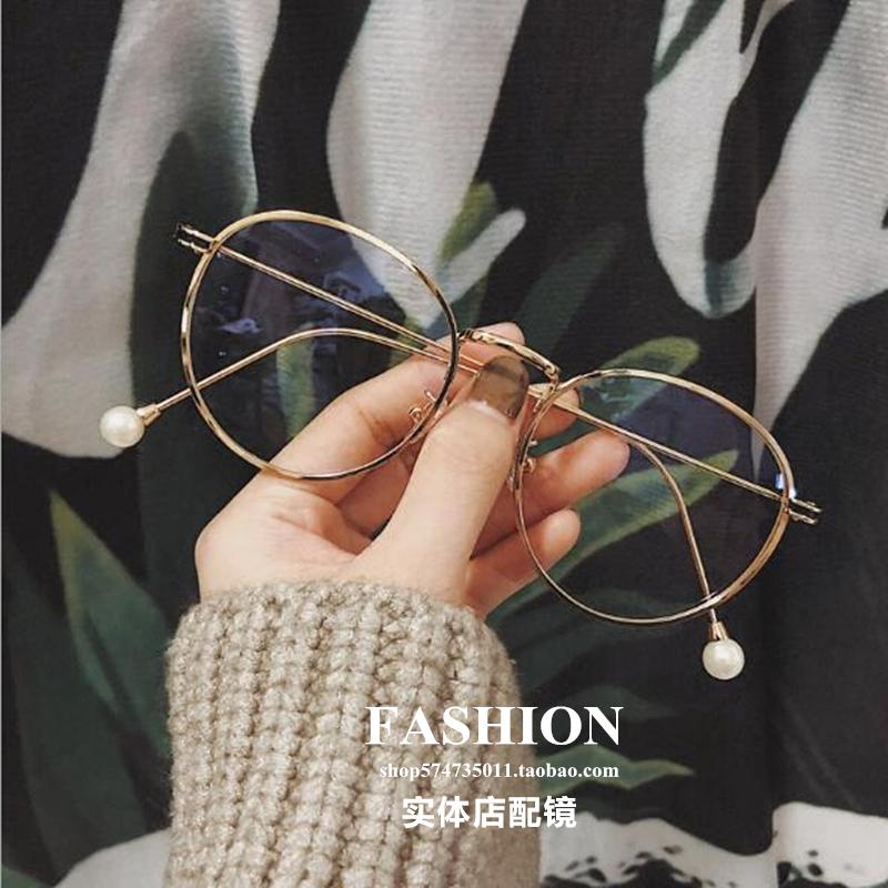 insネットの赤い項の復古の目の額縁の女性の韓版の円の原宿の金の辺の完成品の近視の眼鏡の真珠の項は度数があります。