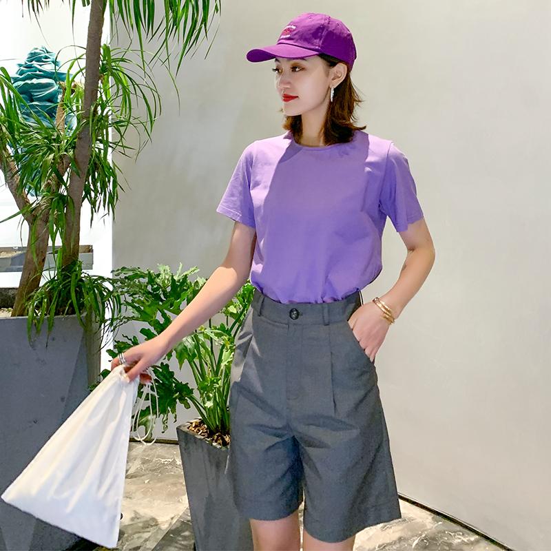 Suit 5-point shorts gray straight tube loose summer thin drape high waist slim casual wide leg pants