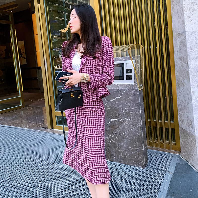 2019秋冬粗花呢子小香风套装裙玫红色鱼尾裙气质名媛两件套时尚冬