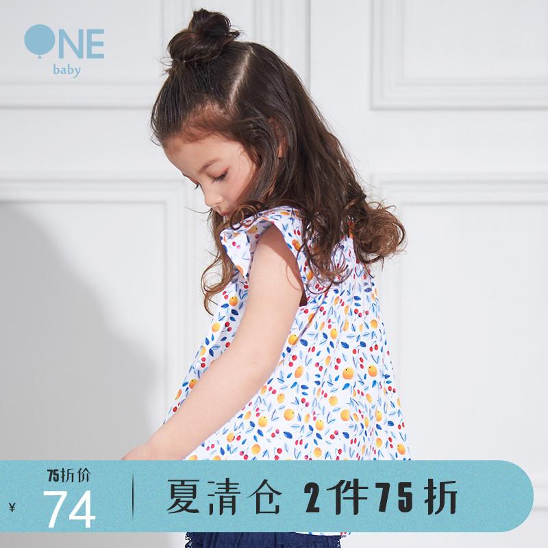 BabyONE田园风女童可爱小飞袖上衣2019夏季新款透气清凉T恤
