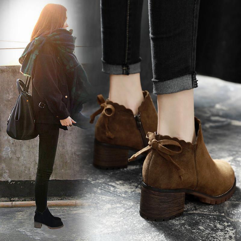 小短靴女粗跟真皮英伦风马丁靴秋冬季女靴子2018新款加绒高跟女鞋