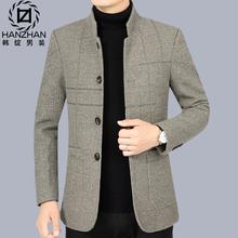 男士毛呢外套男春秋季休闲立领呢子夹克男2021新款中年爸爸装上衣