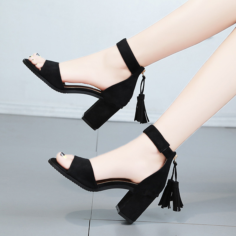 Snow yierkang tassel sandals with open toe, womens summer middle heel, Korean version, all kinds of high heels, womens shoes, Rome