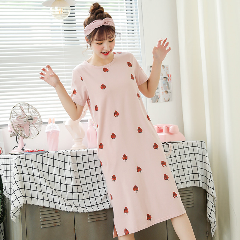 睡衣夏裙薄款短袖女士夏季纯棉清新甜美睡裙带胸垫女学生宽松长裙(非品牌)