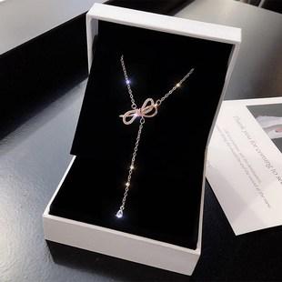 女生項鍊韓版鎖骨森系勁鏈韓鎖骨鏈相連項鍊女網紅簡單女簡約大氣