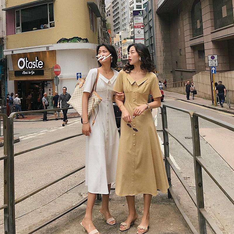 许大晴 白色法式复古裙赫本风温柔气质翻领连衣裙女长裙桔梗裙夏券后228.00元