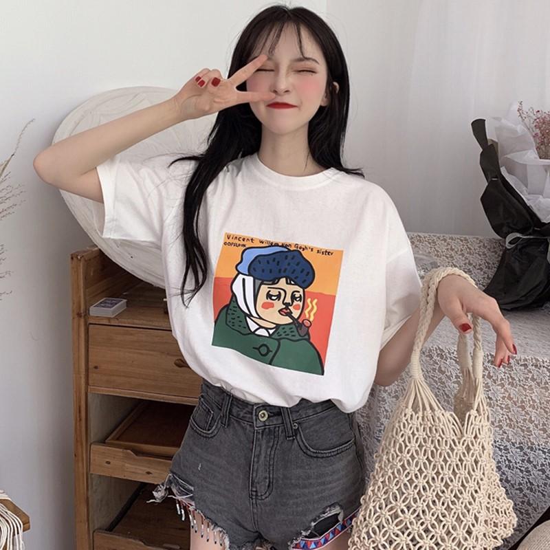 韩国韩版短袖卡通2020实拍常规夏季!t恤印花百搭圆领个性新款头像