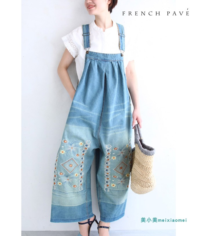 New direct mail Japanese sweet flower embroidered loose denim strap pants fashion Jumpsuit