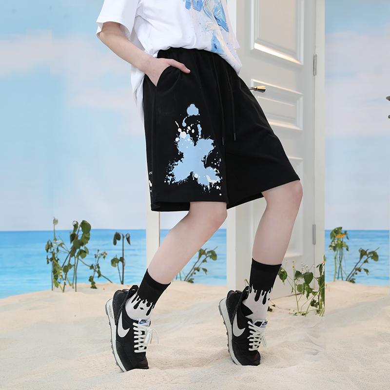 PCMY新款爆款叉叉图案刷漆短裤ins风潮流风情侣款男女款休闲短裤