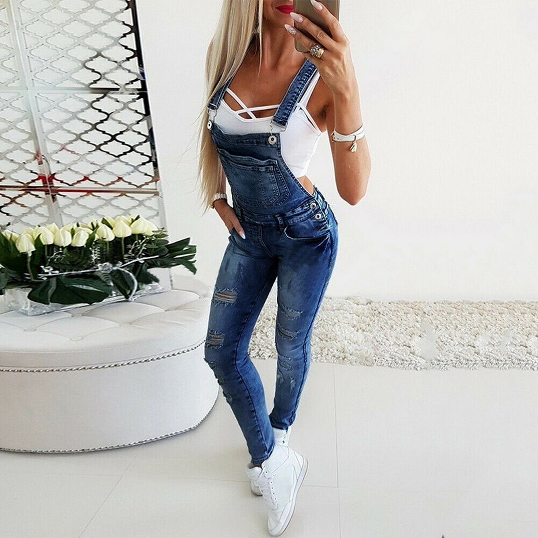 Overall Solid Loose Casual Jumpsuit Pants