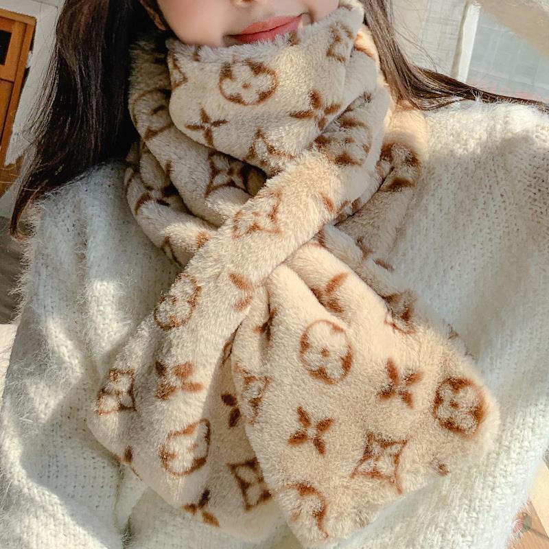 Hairy Bib girl student harasufeng warm in winter lovely girl elastic pattern hairy cross Bib