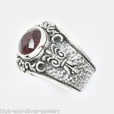 American handmade classic Gothic style fine inlaid red natural stone ring