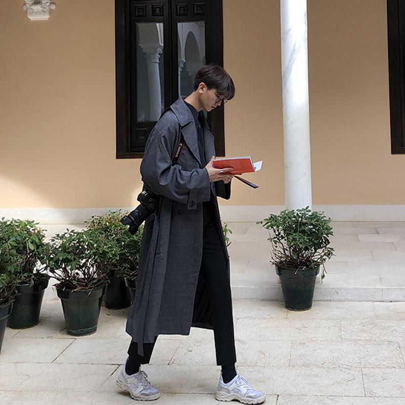 中长款格子外套春季新款韩版男士风衣帅气过膝复古潮流大衣2019bf