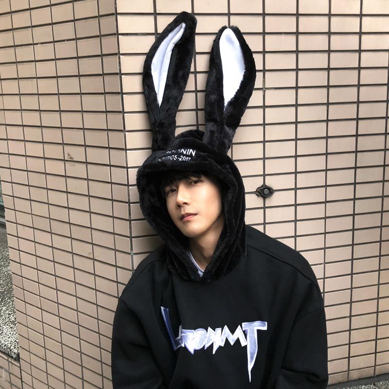 100%纯棉秋季新款男士兔耳朵卫衣