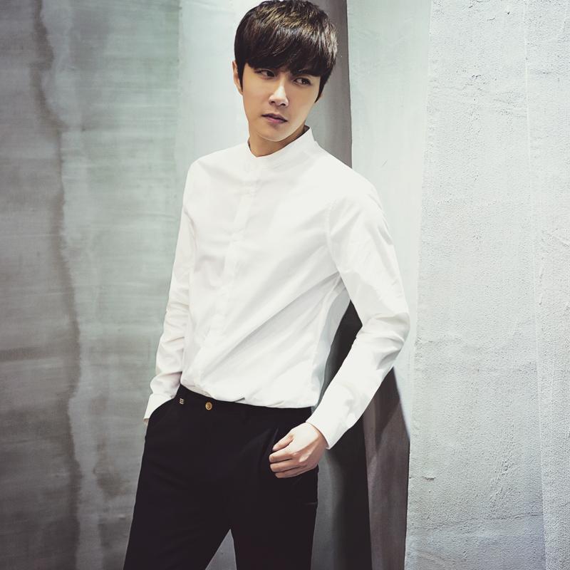 男士纯色立领长袖免烫衬衫韩版白衬衫男衬衣简约修身衬衫限时抢购