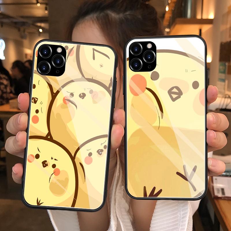 iphone11pro/X/XS/XR/XS max磨砂钢化玻璃手机壳苹果6/6splus/i7/8/7plus/8plus镜面硅胶保护套卡通玻璃小鸡