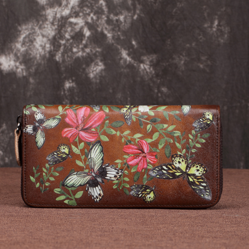 2021 new Long Wallet female tree cream leather embossed zipper bag European and American retro first layer cowhide mobile phone handbag