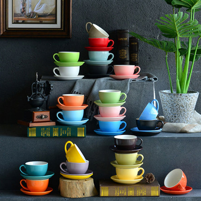 Daily household cleaning household utensils water utensils / water cup matte 300ml Italian coffee cup and Dish Set