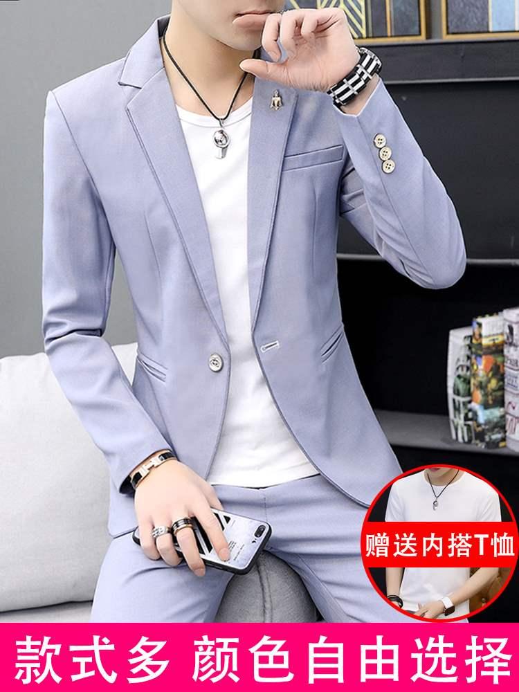 高档西服三件套装男士韩版修身帅气