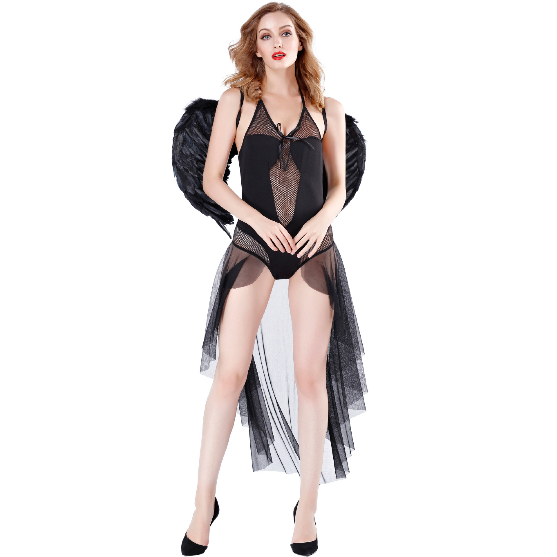 Dark angel adult role play night club cos bar sexy stage Halloween DS show Costume