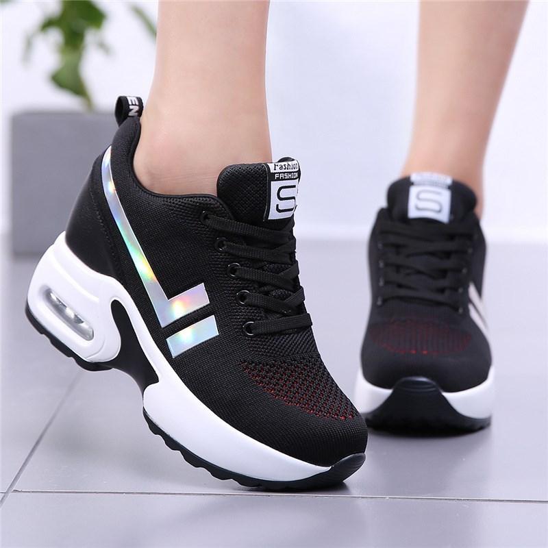 小黑鞋内显瘦夏季透气黑色运动鞋气垫波鞋33小码34旅游鞋