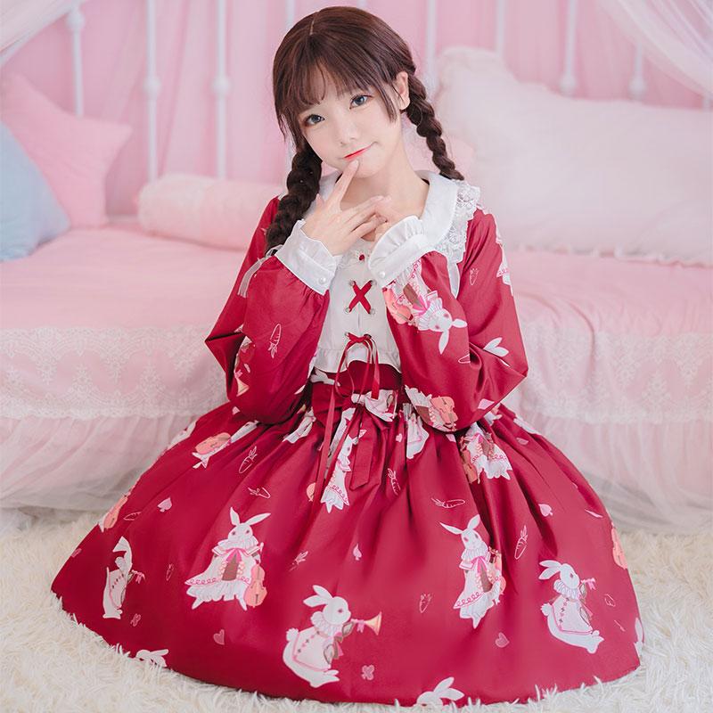 洛丽塔洋装日常软妹连衣裙学生可爱日系萝莉二次元lolita秋冬款女