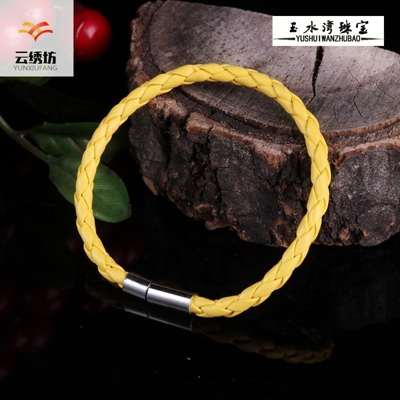 韩版时尚简约黑色编织皮绳手链 潮男手带钛钢饰品 女个性手