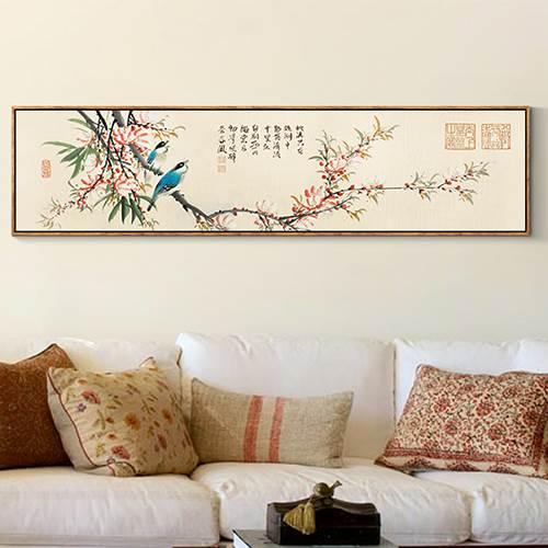 卧室海棠花鸟挂画横幅床头画客厅沙发墙装饰画中式墙画挂画水墨画