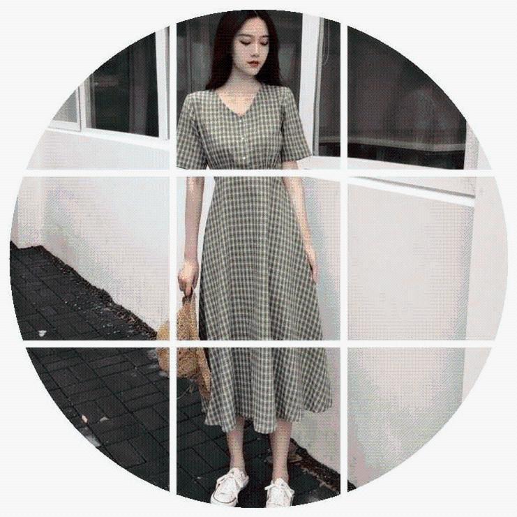 夏季2019新款女装大码法式复古格子长裙胖妹妹森系过膝流行连衣裙
