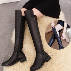 长靴女过膝冬加绒显瘦百搭粗跟高筒靴中跟长筒皮靴春秋拉链女鞋子