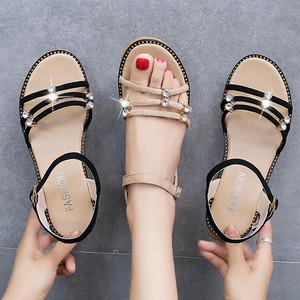 女鞋凉鞋女平底鞋防滑孕妇鞋2020新款中跟仙女风学生舒适妈妈鞋子