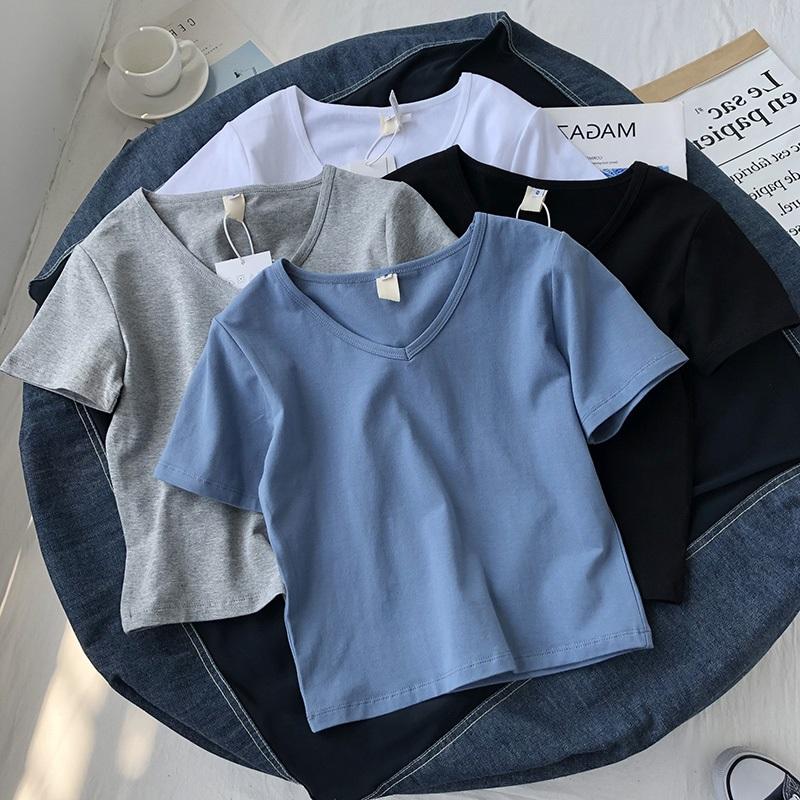 2021年春夏季新款别致小众设计感短款白色v领短袖T恤潮短上衣女装