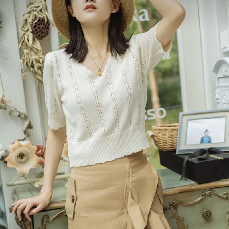 短袖2020年新款女修身夏装s高腰短款冰丝半袖女条纹镂空女薄款t恤