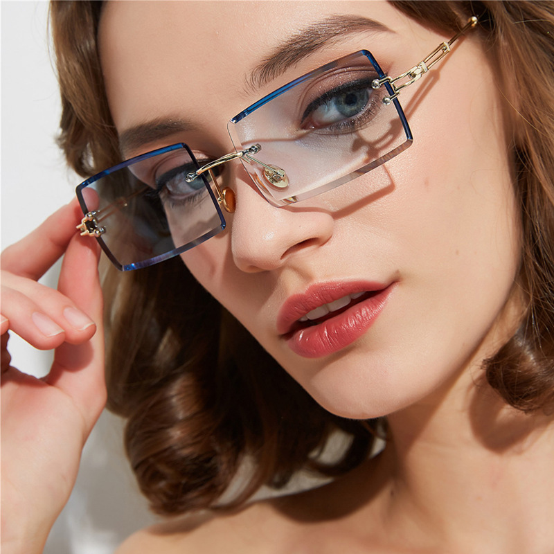 New rimless cut edge Sunglasses Womens square net red changing Sunglasses cross border fashion street glasses