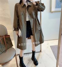 卡贝尔9903中长款翻领工装风衣女秋季韩版宽松大版休闲外套潮2020