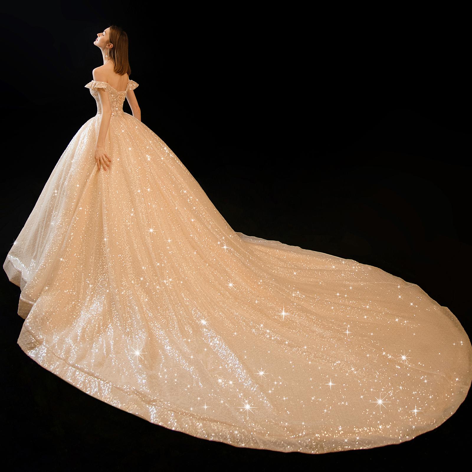 满庭芳【凡尔赛舞会】一字肩婚纱2020新款大拖尾新娘高端星空婚纱图片