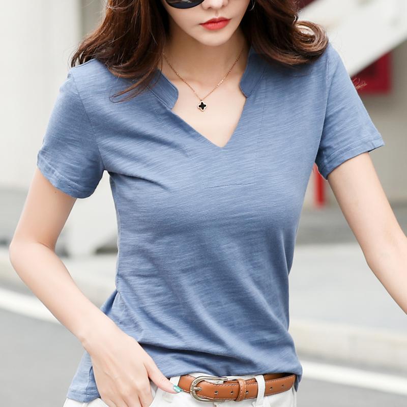 领子不规则领口特色短袖t恤女宽松上衣全棉纯棉蓝色t桖有领竹节棉