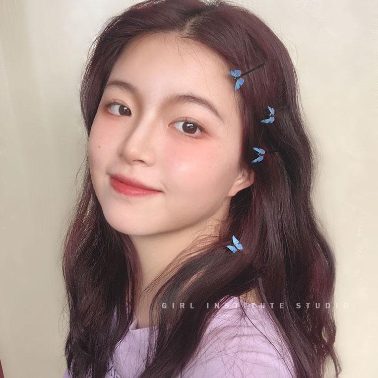 韩国ins蝴蝶发卡森系仙女超仙发夹简约风气质少女边夹一字夹发饰